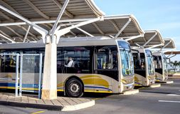 Gautrian busses in depot. Pretoria, South Africa - March 6, 2018: Public busses waiting in depot Stock Image