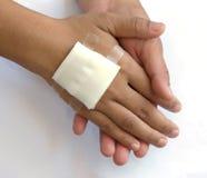 Gauze bandage the hand Royalty Free Stock Images