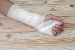 Gauze bandage the hand wound. treating patients with hand. Gauze bandage the hand contusion. treating patients with hand with a wrist left, male With gauze Royalty Free Stock Image