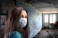Gauze bandage women indoor. Gauze bandage woman in obsolete room Royalty Free Stock Image