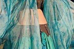 Gauzy Aqua Dancer In Costume Royalty Free Stock Photos