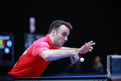 GAUZY Simon from France backhand. 2017 European Championships - First Round - Luxembourg Stock Image