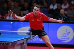 GAUZY Simon from France backhand. 2017 European Championships - First Round - Luxembourg Stock Images