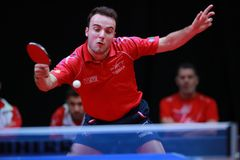GAUZY Simon from France backhand. 2017 European Championships - First Round - Luxembourg Stock Photos