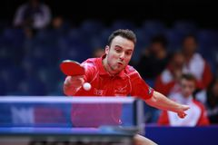 GAUZY Simon from France backhand. 2017 European Championships - First Round - Luxembourg Stock Photo