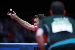 GAUZY Simon from France on sevre. GAUZY Simon from France on serve. 2017 European Championships -  1/4 Final - Luxembourg Stock Image