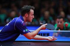 GAUZY Simon from France on sevre. GAUZY Simon from France on serve. 2017 European Championships -  1/2 Final - Luxembourg Royalty Free Stock Images