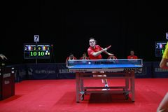 GAUZY Simon from France top spin. 2017 European Championships -  1/4 Final - Luxembourg Royalty Free Stock Photo