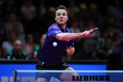 GAUZY Simon from France top spin. 2017 European Championships -  1/2 Final - Luxembourg Royalty Free Stock Photos