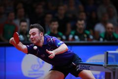 GAUZY Simon from France top spin. 2017 European Championships -  1/2 Final - Luxembourg Stock Images