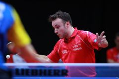 GAUZY Simon from France top spin. 2017 European Championships -  1/4 Final - Luxembourg Royalty Free Stock Images