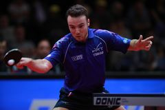 GAUZY Simon from France top spin. 2017 European Championships -  1/2 Final - Luxembourg Stock Photography