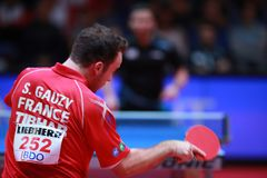 GAUZY Simon from France top spin. 2017 European Championships -  1/4 Final - Luxembourg Stock Images