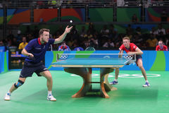 Gauzy Simon playing table tennis at the Olympic Games in Rio 2016. Gauzy Simon from France playing table tennis at the Olympic Games in Rio 2016 Royalty Free Stock Photography