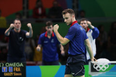 Gauzy Simon playing table tennis at the Olympic Games in Rio 2016. Royalty Free Stock Image