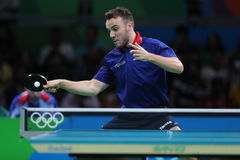 Gauzy Simon playing table tennis at the Olympic Games in Rio 2016. Royalty Free Stock Photography