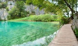 Gavanovac湖透明绿松石水  免版税库存图片