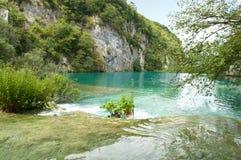 Gavanovac湖绿松石透明水  免版税库存照片