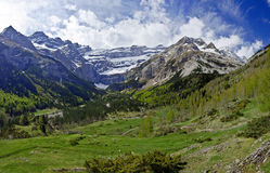 The Gavarnie Circus in French Haute Pyrenees. The Circus of Gavarnie in French Haute Pyrenees Mountains with forest and the Valley in the foreground in spring Royalty Free Stock Image