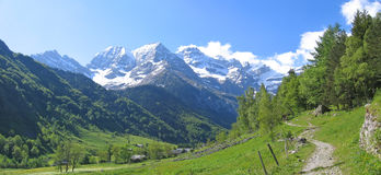 The Gavarnie Circus mountains. View from far in the background of the Gavarnie Circus mountains - The Pyrenees - France - Panorama Stock Photo