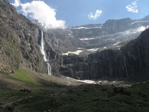 Gavarnie. Waterfalls at the Cirque de Gavarnie seen from the village Royalty Free Stock Photography