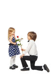 Gave a rose to girl Royalty Free Stock Photos