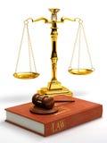 Gavel, échelles et livre de loi Images stock