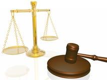 gavel δικαστηρίων κλίμακες ξύ&lamb Στοκ Φωτογραφία