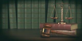 Gavel και κλίμακα στο υπόβαθρο των εκλεκτής ποιότητας βιβλίων δικηγόρων Conce διανυσματική απεικόνιση