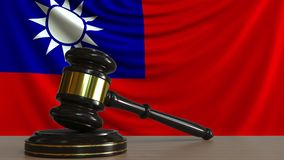 Gavel και φραγμός δικαστή ενάντια στη σημαία της Ταϊβάν Ταϊβανική εννοιολογική ζωτικότητα δικαστηρίων ελεύθερη απεικόνιση δικαιώματος