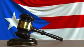 Gavel και φραγμός δικαστή ενάντια στη σημαία του Πουέρτο Ρίκο Εννοιολογική ζωτικότητα δικαστηρίου διανυσματική απεικόνιση