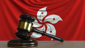 Gavel και φραγμός δικαστή ενάντια στη σημαία του Χογκ Κογκ Εννοιολογική ζωτικότητα δικαστηρίου απόθεμα βίντεο