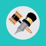 Gavel μολυβιών και δικαστών επίπεδο διάνυσμα σχεδίου Στοκ φωτογραφία με δικαίωμα ελεύθερης χρήσης
