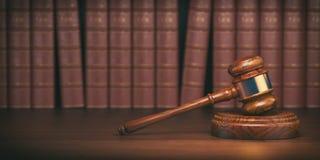 Gavel στο υπόβαθρο των εκλεκτής ποιότητας βιβλίων δικηγόρων Έννοια του νόμου απεικόνιση αποθεμάτων