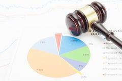 Gavel του ξύλινου δικαστή πέρα από το ζωηρόχρωμο διάγραμμα Στοκ φωτογραφία με δικαίωμα ελεύθερης χρήσης