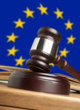 Gavel. And Flag of Europe Stock Image
