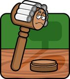 Gavel. A judge's gavel with a powdered wig on Stock Photo
