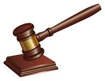 Gavel. Illustration of a gavel used by court judges and other symbols of authority. A gavel is used to call for attention or to punctuate rulings and Stock Images