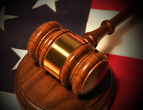 Gavel. A photo of a gavel on the American flag Royalty Free Stock Image