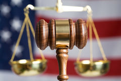 Gavel. With American Flag and Justice of Scale in background Royalty Free Stock Photos
