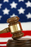 Gavel. With a flag background Royalty Free Stock Photography