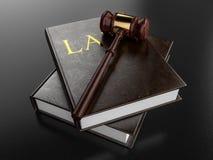 Gavel που στηρίζεται στα βιβλία νόμου - τρισδιάστατη απεικόνιση Στοκ Εικόνα