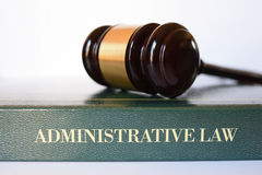 Gavel of administrative law. Body of law that governs the activities of administrative agencies of government Stock Image