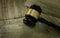 Gavel on America`s Constitution stock images