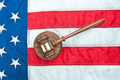 Gavel on American flag Stock Image