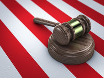 Gavel on american flag. Wooden gavel on american flag Royalty Free Stock Image