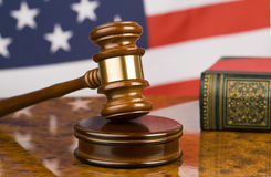 Gavel and american flag royalty free stock photo