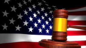 Gavel with american flag background. Gavel with american flag background, Computer generated stock video