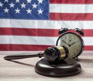 Gavel And Alarm Clock Royalty Free Stock Photography