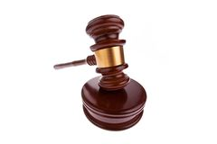 Gavel. Auction hammer in court. Stock Photography